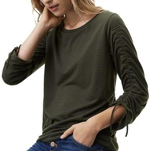 ANN TAYLOR LOFT OLIVE GREEN RUCHED SLEEVE TOP